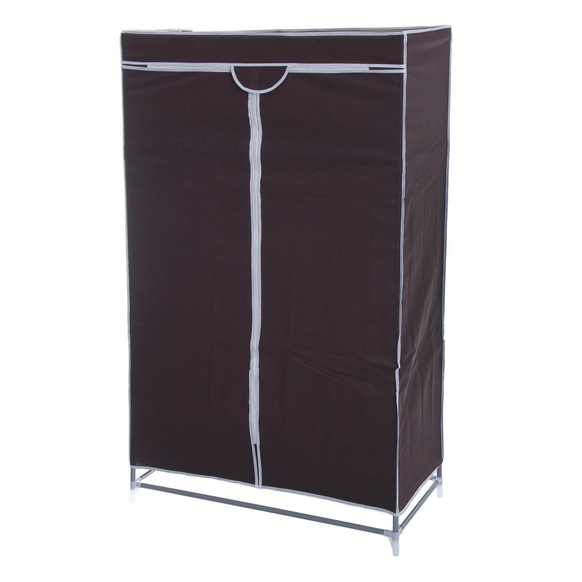 Мобильный шкаф для одежды Sima-land, цвет: кофейный, 90 х 45 х 145 см. 888799CM000001326Мобильный шкаф для одежды Sima-land, предназначенный для хранения одежды и других вещей, это отличное решение проблемы, когда наблюдается явный дефицит места или есть временная необходимость. Складной тканевый шкаф - это мобильная конструкция, состоящая из сборного металлического каркаса, на который натянут чехол из нетканого полотна. Корпус шкафа сделан из легкой, но прочной стали, а обивка из полиэстера, который можно легко стирать в стиральной машинке. Шкаф оснащен двумя текстильными дверями, которые закрываются на застежку-молнию. Шкаф снабжен полкой и планкой для хранения вещей на вешалках.