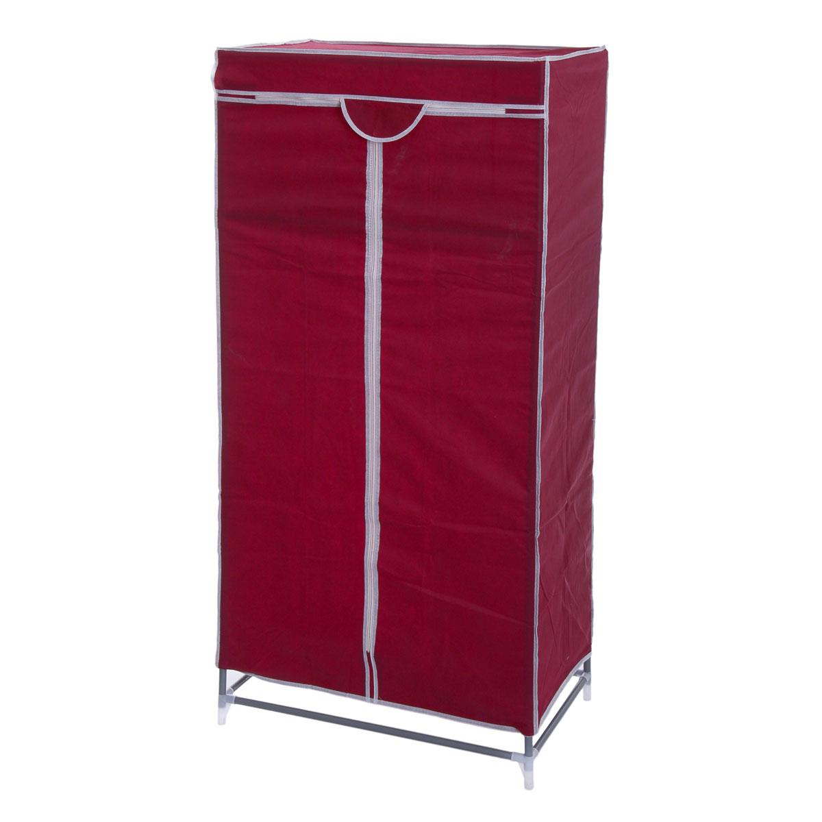 Мобильный шкаф для одежды Sima-land, цвет: бордовый, 90 х 45 х 155 см 888800178922Мобильный шкаф для одежды Sima-land, предназначенный для хранения одежды и других вещей, это отличное решение проблемы, когда наблюдается явный дефицит места или есть временная необходимость. Складной тканевый шкаф - это мобильная конструкция, состоящая из сборного металлического каркаса, на который натянут чехол из нетканого полотна. Корпус шкафа сделан из легкой, но прочной стали, а обивка из полиэстера, который можно легко стирать в стиральной машинке. Шкаф оснащен двумя текстильными дверями, которые закрываются на застежку-молнию. Шкаф снабжен полкой и планкой для хранения вещей на вешалках.