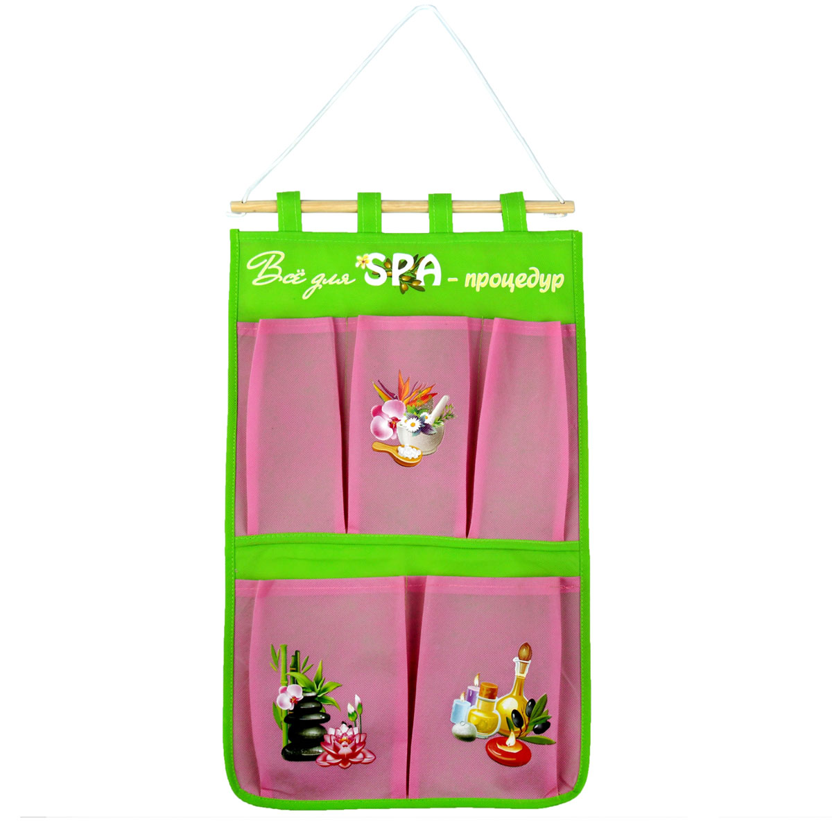 Кармашки на стену Sima-land Все для спа процедур, цвет: розовый, 5 шт12723Кармашки на стену Sima-land Все для спа процедур, изготовленные из текстиля и пластика, предназначены для хранения необходимых вещей, множества мелочей в гардеробной, ванной, детской комнатах. Изделие представляет собой текстильное полотно с 5 пришитыми кармашками. Благодаря деревянной планке и шнурку, кармашки можно подвесить на стену или дверь в необходимом для вас месте.Кармашки декорированы изображениями различных аксессуаров для спапроцедур.Этот нужный предмет может стать одновременно и декоративным элементом комнаты. Яркий дизайн, как ничто иное, способен оживить интерьер вашего дома.