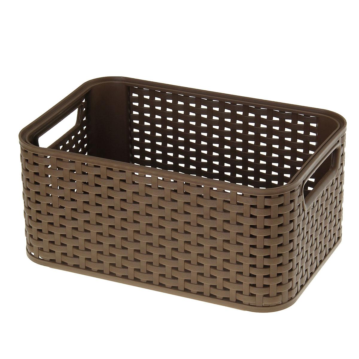 Корзинка Curver, цвет: коричневый, 29 х 19 х 13 смБрелок для сумкиКорзинка Curver, изготовленная из высококачественного прочного пластика, предназначена для хранения мелочей в ванной, на кухне, даче или гараже. Изделие оснащено двумя удобными ручками.Это легкая корзина со сплошным дном, жесткой кромкой и небольшими отверстиями позволяет хранить мелкие вещи, исключая возможность их потери.