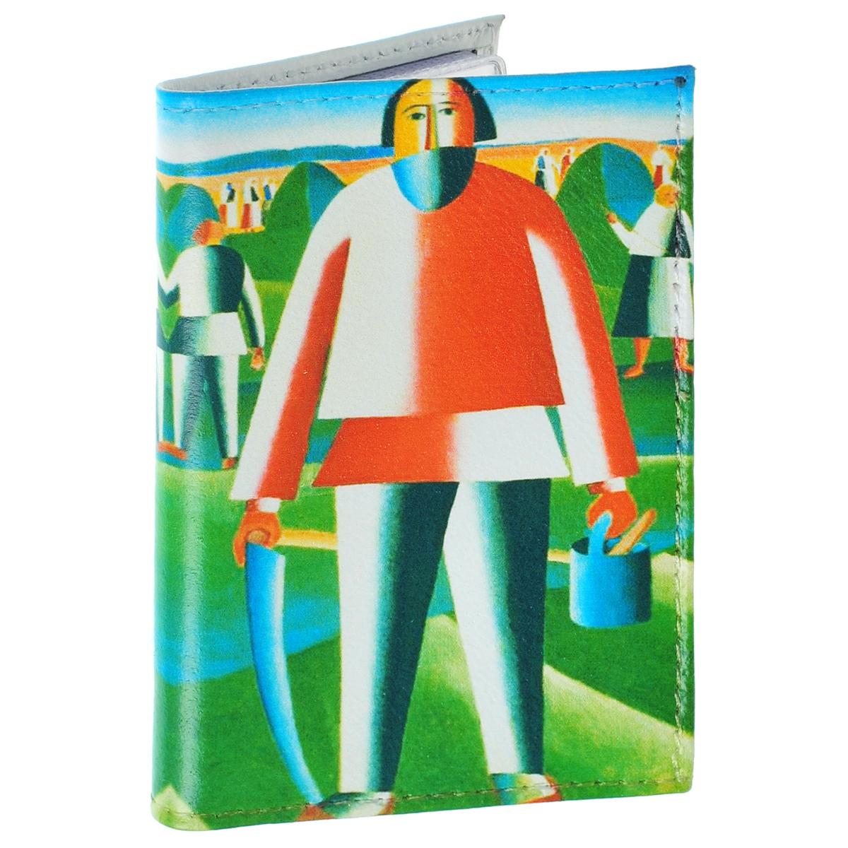 Визитница На сенокосе К. Малевич. VIZIT-22423/0330/181Оригинальная визитница Mitya Veselkov На сенокосе - стильная вещь для хранения визиток. Она выполнена из натуральной кожи и оформлена фрагментом картины Малевича На сенокосе. Внутри содержится съемный блок из прозрачного мягкого пластика на 18 визиток и 2 прозрачных вертикальных кармана. Яркая и оригинальная визитница подчеркнет вашу индивидуальность и изысканный вкус, а также станет замечательным подарком человеку, ценящему качественные и практичные вещи.