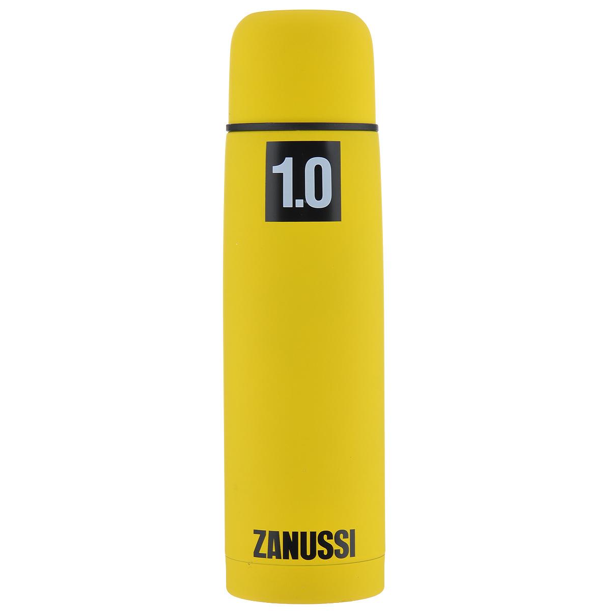 Термос Zanussi, цвет: желтый, 1 лZVF51221CFТермос с узким горлом Zanussi, изготовленный из высококачественной нержавеющей стали 18/10, является простым в использовании, экономичным и многофункциональным. Корпус изделия оснащен резиновым покрытием, благодаря чему термос практически невозможно разбить, он защищен от сколов. Термос с двухстеночной вакуумной изоляцией, предназначенный для хранения горячих и холодных напитков (чая, кофе), сохраняет их до 12 часов горячими и холодными в течении 24 часов. Изделие укомплектовано пробкой с кнопкой. Такая пробка удобна в использовании и позволяет, не отвинчивая ее, наливать напитки после простого нажатия. Изделие также оснащено крышкой-чашкой. Легкий и прочный термос Zanussi сохранит ваши напитки горячими или холодными надолго.