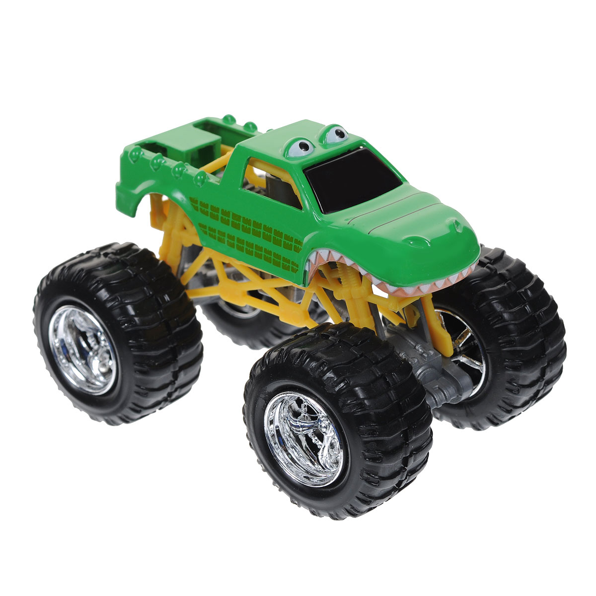 """Машинка MotorMax """"Багги"""" непременно понравится вашему непоседе. Она выполнена из металла и пластика высокого давления по технологии литья die-cast. Машинка оснащена большими колесами, которые не остановит ни одно препятствие, а также подвеской, которая действительно работает и выполняет свою функцию, смягчая толчки от езды по неровной поверхности. Подвижные соединения на осях делают автомобиль более маневренным. Корпус изготовлен в виде крокодила. Шины выполнены из резины, корпус детально проработан, что придает багги реалистичности. Ваш ребенок будет в восторге от такого подарка! Коллекция Mighty Monsters от компании Motormax понравится любителям действительно больших и мощных машин. Линейка представлена масштабными автомобилями багги разных цветов, выполненными с высокой достоверностью."""