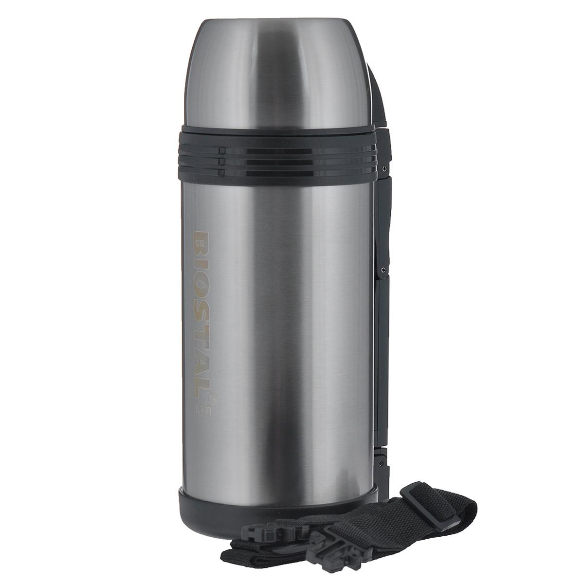Термос BIOSTAL Спорт, 1,5 л. NGP-1500-PVT-1520(SR)Универсальный пищевой термос BIOSTAL Спорт, изготовленный из высококачественной нержавеющей стали, относится к серии Спорт премиум-класса. Термосы этой серии вобрали в себя самые передовые энергосберегающие технологии и отличаются применением более совершенных термоизоляционных материалов, а также новейшей технологией по откачке вакуума. Корпус покрыт защитным прозрачным лаком. Универсальный термос выполняет функции термоса для еды (первого или второго) и термоса для напитков (кофе, чая). Это достигается благодаря специальной универсальной пробке, которая изготовлена из прочного пластика, легко разбирается для мытья и, обладая дополнительной теплоизоляцией, позволяет термосу дольше хранить тепло. Конструкция пробки позволяет использовать термос, как для напитков, так и для первых и вторых блюд. Изделие оснащено удобной ручкой, ремешком для переноски, крышкой-чашкой и дополнительной пластиковой чашкой. Легкий и прочный термос BIOSTAL Спорт сохранит ваши напитки и продукты горячими или холодными надолго.