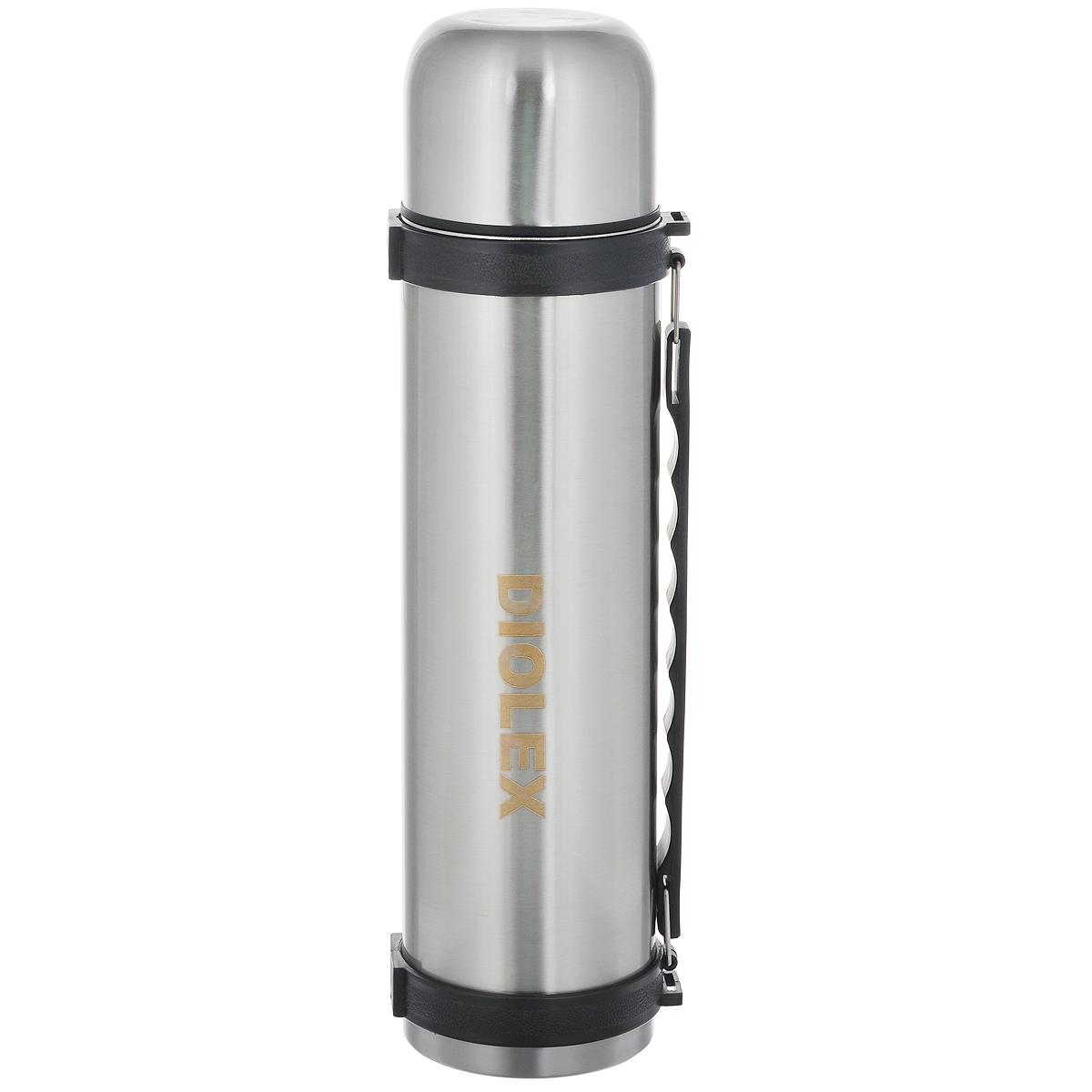 Термос Diolex, 1,5 л115510Термос вакуумный Diolex с узким горлом изготовлен из высококачественной нержавеющей стали и предназначен для хранения горячих и холодных напитков (чая, кофе) и укомплектован пробкой с кнопкой. Такая пробка надежна, проста в использовании. Благодаря двойной колбе термос сохраняет напитки горячими до 12 часов и холодными до 24 часов. Изделие также оснащено крышкой-чашкой, откидной ручкой и ремешком для транспортировки.