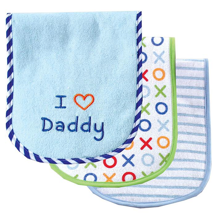 Набор салфеток для кормления Luvable Friends Люблю папу, цвет: голубой, 42 см х 17 см, 3 шт7-91/ фиолетовыйНабор салфеток Luvable Friends Люблю папу станет незаменимым помощником маме во время кормления малыша. Каждая салфетка двухслойная, с обеих сторон мягкая махра, максимально абсорбирующая влагу. Края салфеток обработаны, что увеличивает срок их службы. Каждая салфетка в наборе имеет свой уникальный принт. С такими салфетками одежда вашего малыша будет всегда оставаться чистой.В комплект входят три салфетки: белая в голубую полоску, белая с принтом крестик-нолик с салатовой обработкой края и голубая, оформленная вышивкой I Love Daddy.Состав салфеток: 68% хлопок, 32% полиэстер.