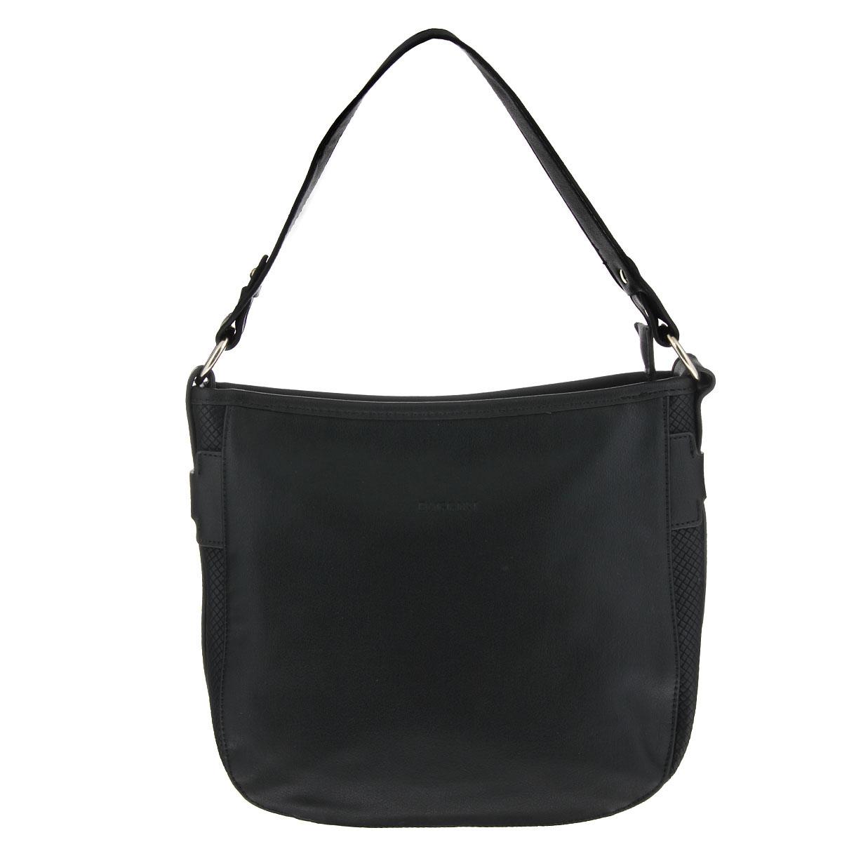 Сумка женская Baggini, цвет: черный. 29452/10A-B86-05-CИзысканная женская сумка Baggini изготовлена из высококачественной искусственной кожи и декорирована вставками с тиснением.Сумка закрывается на застежку-молнию и имеет одно вместительное отделение, разделенное пополам карманом-средником на молнии.Внутри - два накладных кармашка для мелочей, мобильного телефона и втачный карман на застежке-молнии.На внешней задней стороне сумки расположен карман на застежке-молнии.По бокам сумка оформлена декоративными ремешками с металлическими клепками. Элегантная сумка отлично дополнит ваш повседневный и выходной образы, а также подчеркнет ваш отменный вкус.
