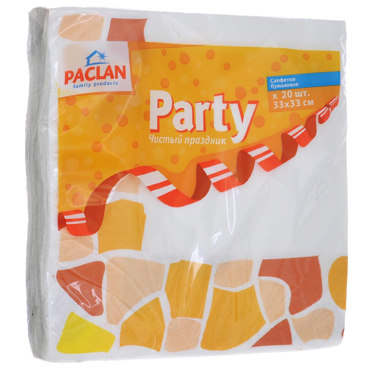 Салфетки бумажные Paclan Party, цвет: белый, желтый, трехслойные, 33 см х 33 см, 20 штRC-100BPCТрехслойные бумажные салфетки Paclan Party, выполненные из натуральной целлюлозы, станут отличным дополнением праздничного стола. Изделия декорированы красивым рисунком. Они отличаются необычной мягкостью и прочностью. Салфетки красиво оформят сервировку стола. Размер салфеток: 33 см х 33 см. Количество слоев: 3 слоя. Количество салфеток: 20 шт.