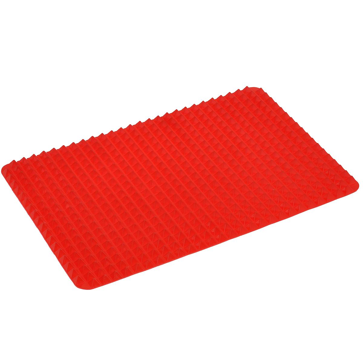 Коврик силиконовый Bradex Пирамида, цвет: красный, 41 х 29 смFS-91909Силиконовый коврик Bradex Пирамида поможет приготовить вкусную и здоровую пищу. Благодаря специальной форме коврика лишний жир стекает вниз, оставаясь на коврике, а не на стенках Вашей посуды. С силиконовым ковриком Вы значительно сократите количество потребляемых калорий, не меняя диеты. Горячий воздух свободно циркулирует между пиками пирамиды, сокращая время готовки и не давая пище пригорать. Силиконовый коврик не пахнет при нагревании и легко отмывается. Чтобы питаться правильно, не обязательно отказываться от любимых блюд. Главное их правильно готовить! С силиконовым ковриком Вы сможете наслаждаться любимыми блюдами, не опасаясь за свое здоровье. Подходит для приготовления луковых колец, рыбы и чипсов, сосисок, пиццы, мяса. Можно мыть в посудомоечной машине и использовать в микроволновой печи. Выдерживает температуру до 220°С.