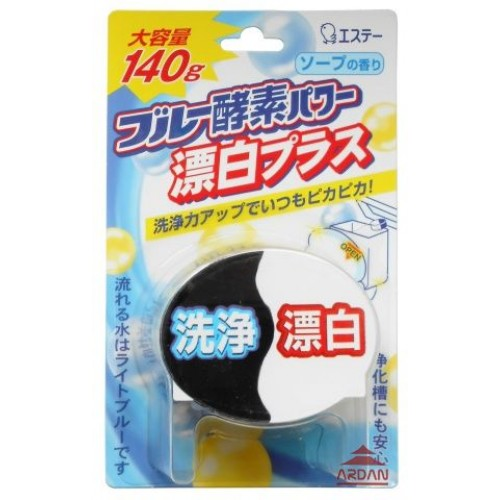 Очищающая таблетка ST Blue Enzyme Power для бачка унитаза, 140 г68/5/4Кислородная таблетка для очищения и дезинфекции унитаза с отбеливателем.Благодаря сочетанию отбеливающих компонентов и кислорода, входящего в состав синего реагента, средство обладает двойной силой. Создает ощущение чистоты и свежести, распространяя аромат косметического мыла и окрашивая воду в светло-голубой цвет.140 гр.