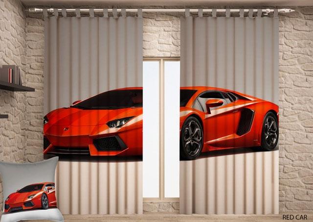 Штора Garden Красная машина, на ленте, размер 150*270 см, 2 штS03301004Комплект Garden Красная машина включает в себя 2 готовые шторы, выполненные из высококачественного полиэстера с цифровой печатью в виде машины. Лицевая сторона штор гладкая с легким блеском, изнаночная матовая. Оригинальный дизайн и цветовая гамма украсят любое окно и привлекут к себе внимание.Шторы крепятся на карниз при помощи вшитой шторной ленты, которая поможет красиво и равномерно задрапировать верх.Ширина одной шторы 150 см. Длина шторы 270 см.