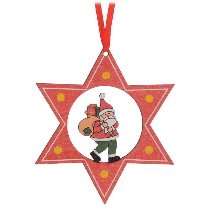 Новогоднее подвесное украшение Sima-land Звезда. Дед Мороз. 163294G-MLP-PZ-01 (0550)Новогоднее подвесное украшение Sima-land Звезда. Дед Мороз прекрасно подойдет для праздничного декора новогодней ели. Украшение выполнено из дерева в виде звезды с фигуркой Деда Мороза в середине. Для удобного размещения на елке на игрушке предусмотрена текстильная петелька.Елочная игрушка - символ Нового года. Она несет в себе волшебство и красоту праздника. Создайте в своем доме атмосферу веселья и радости, украшая новогоднюю елку нарядными игрушками, которые будут из года в год накапливать теплоту воспоминаний. Коллекция декоративных украшений принесет в ваш дом ни с чем не сравнимое ощущение волшебства! Откройте для себя удивительный мир сказок и грез. Почувствуйте волшебные минуты ожидания праздника, создайте новогоднее настроение вашим дорогим и близким.
