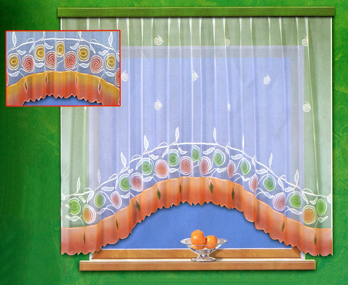 Гардина Haft, на ленте, цвет: белый, оранжевый, 300 см х 160 см. 18290/160S03301004Гардина Haft изготовлена из белого кружевного маркизета - легкой, тонкой ткани, вырабатываемой из очень тонкой крученой пряжи. Изделие украшено ручной раскраской в виде красивых цветочных узоров. Тонкое плетение, оригинальный дизайн и приятная цветовая гамма привлекут к себе внимание и органично впишутся в интерьер кухни. Оригинальное оформление гардины внесет разнообразие и подарит заряд положительного настроения. Гардина оснащена шторной лентой для красивой сборки.