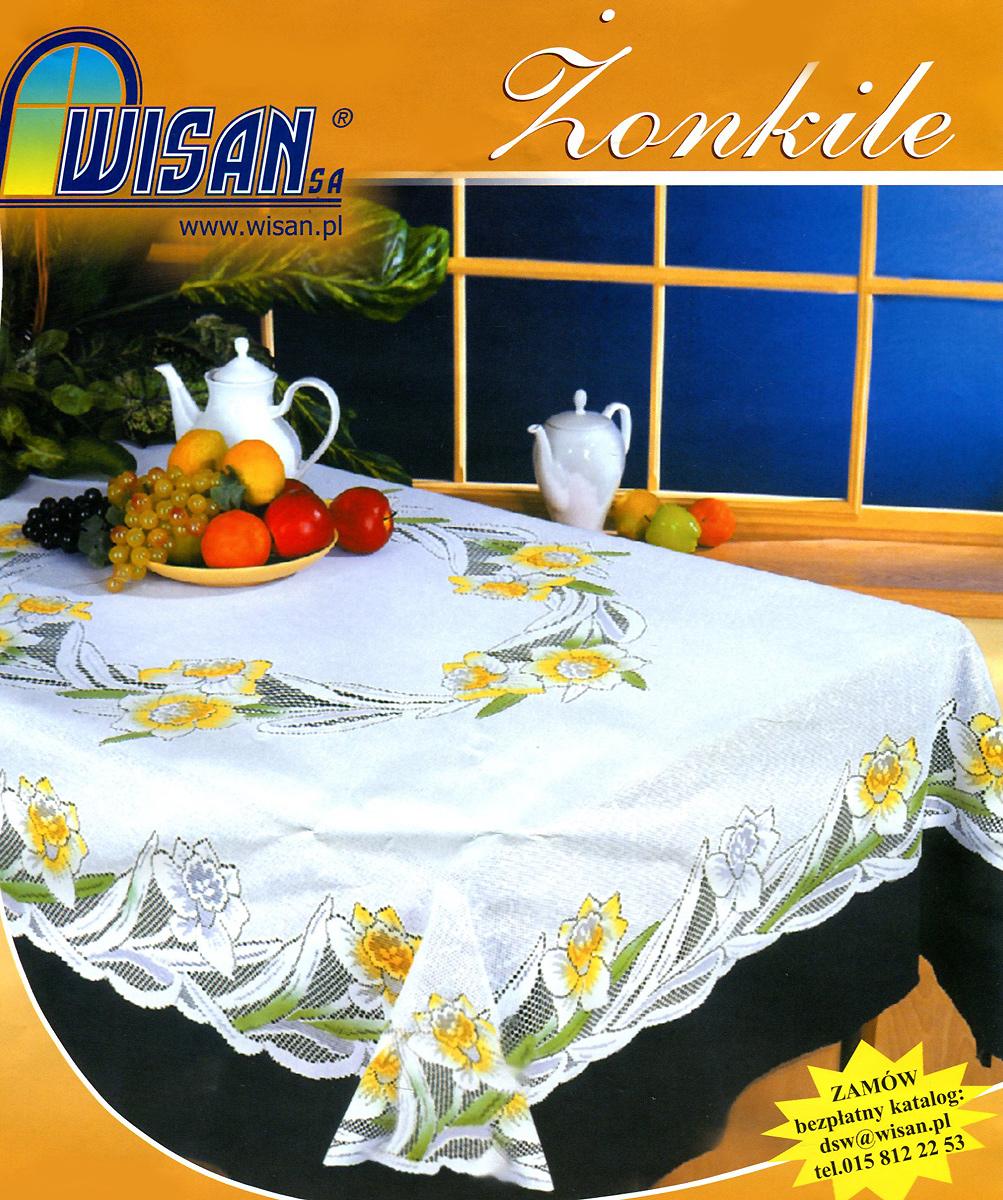 Скатерть Wisan Zonkile, прямоугольная, цвет: белый, 130x 170 см1004900000360Великолепная прямоугольная скатерть Wisan Zonkile с жаккардовым плетением органично впишется в интерьер любого помещения, а оригинальный дизайн удовлетворит даже самый изысканный вкус. Изделие выполнено из полиэстера белого цвета и украшено изящным цветочным рисунком, раскрашенным вручную. Скатерть поможет создать атмосферу уюта и домашнего тепла в интерьере вашей кухни или комнаты, а также станет настоящим украшением праздничного стола.
