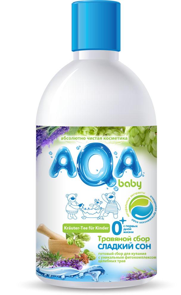 """Польза от купания в травах известна с давних времен: купание в сборах лекарственных трав улучшает тонус, стимулирует аппетит, способствует выделению продуктов обмена через поры кожи, успокаивает сон и доставляет огромное удовольствие малышу и его маме. Готовые травяные сборы для купания малыша AQA baby предлагают мамам оценить неоспоримые преимущества данных продуктов:  Ощутимая экономия времени – не нужно заваривать кипятком, настаивать на водяной бане, процеживать;  Сохраняют до 95% активных компонентов, чего невозможно достичь при самостоятельном заваривании трав в пакетиках; Экономичны в использовании, т.к. являются концентратами: достаточно 2-3-х колпачков на детскую ванночку;  Безопасны, разработаны специально для новорожденных. Травяной сбор """"Сладкий Сон"""" из целебных трав пустырника и хмеля обладает двойным эффектом: успокаивает малыша и нежно заботится о детской коже. Сбор """"Сладкий сон"""" рекомендован в качестве натуральной добавки в ванночку для купания с первых дней жизни. Эфирные масла лаванды и аниса действуют успокаивающе. Натуральный продукт - не содержит отдушек и красителей.Товар сертифицирован."""