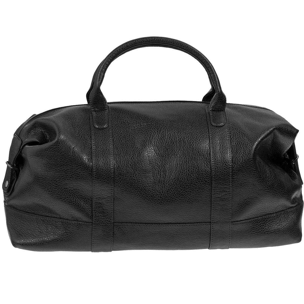 Сумка дорожная Antan, цвет: черный. 2-229 В101225Вместительная дорожная сумка Antan выполнена из искусственной кожи с фактурной поверхностью. Сумка имеет одно отделение, закрывающееся на застежку-молнию. Внутри - вшитый карман на молнии. С внешней стороны на задней стенке сумки предусмотрен дополнительный карман на молнии.Сумка оснащена двумя удобными ручками и съемным плечевым ремнем регулируемой длины. Такая сумка будет незаменима при походе в спортзал, а также может использоваться в качестве ручной клади во время путешествия.