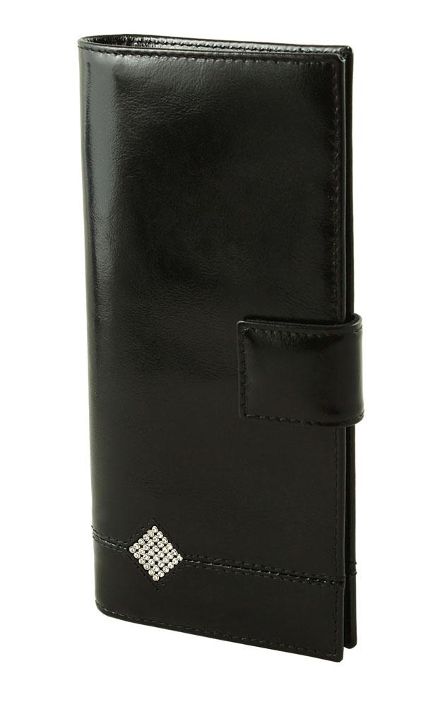 Портмоне женское Dimanche Daimond, цвет: черный. 177АнимаСтильное женское портмоне Dimanche Daimond изготовлено из натуральной лакированной кожи. Закрывается хлястиком на кнопку. Внутри содержится пять отделений для купюр, карман на молнии для мелочи, одиннадцать карманов для пластиковых карт и 2 кармашка для сим-карт. Оформлено изделие аппликацией из стразов в виде ромба. Фурнитура - серебристого цвета. Стильное портмоне отлично дополнит ваш образ и станет незаменимым аксессуаром на каждый день. Упаковано в фирменную картонную коробку.