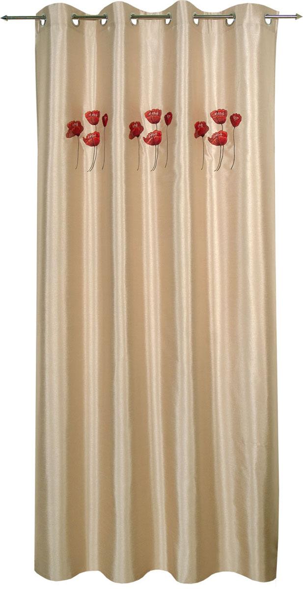Гардина Schaefer на кольцах, цвет: серый, красный, 140 см х 235 см. 07201-913 гардина schaefer на петлях цвет оранжевый черный 140 см х 245 см 06929 596