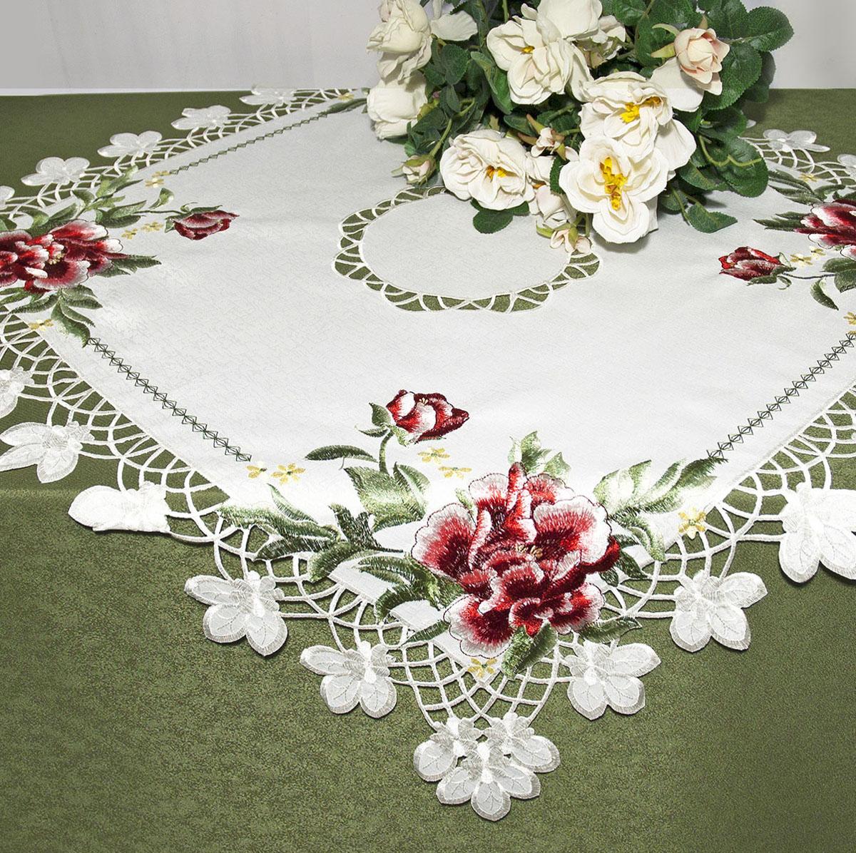 Скатерть Schaefer, квадратная, цвет: белый, 85x 85 см. 07481-1002014-24Скатерть Schaefer изготовлена из полиэстера и украшена цветочной вышивкой. Края изделия оформлены в технике ришелье.Изделия из полиэстера легко стирать: они не мнутся, не садятся и быстро сохнут, они более долговечны, чем изделия из натуральных волокон. Кроме того, ткань обладает водоотталкивающими свойствами. Такая скатерть будет просто не заменима на кухне, а особенно на вашем обеденном столе на даче под открытым небом. Скатерть Schaefer не останется без внимания ваших гостей, а вас будет ежедневно радовать ярким дизайном и несравненным качеством.Немецкая компания Schaefer создана в 1921 году. На протяжении всего времени существования она создает уникальные коллекции домашнего текстиля для гостиных, спален, кухонь и ванных комнат. Дизайнерские идеи немецких художников компании Schaefer воплощаются в текстильных изделиях, которые сделают ваш дом красивее и уютнее и не останутся незамеченными вашими гостями. Дарите себе и близким красоту каждый день! Изысканный текстиль от немецкой компании Schaefer - это красота, стиль и уют в вашем доме.