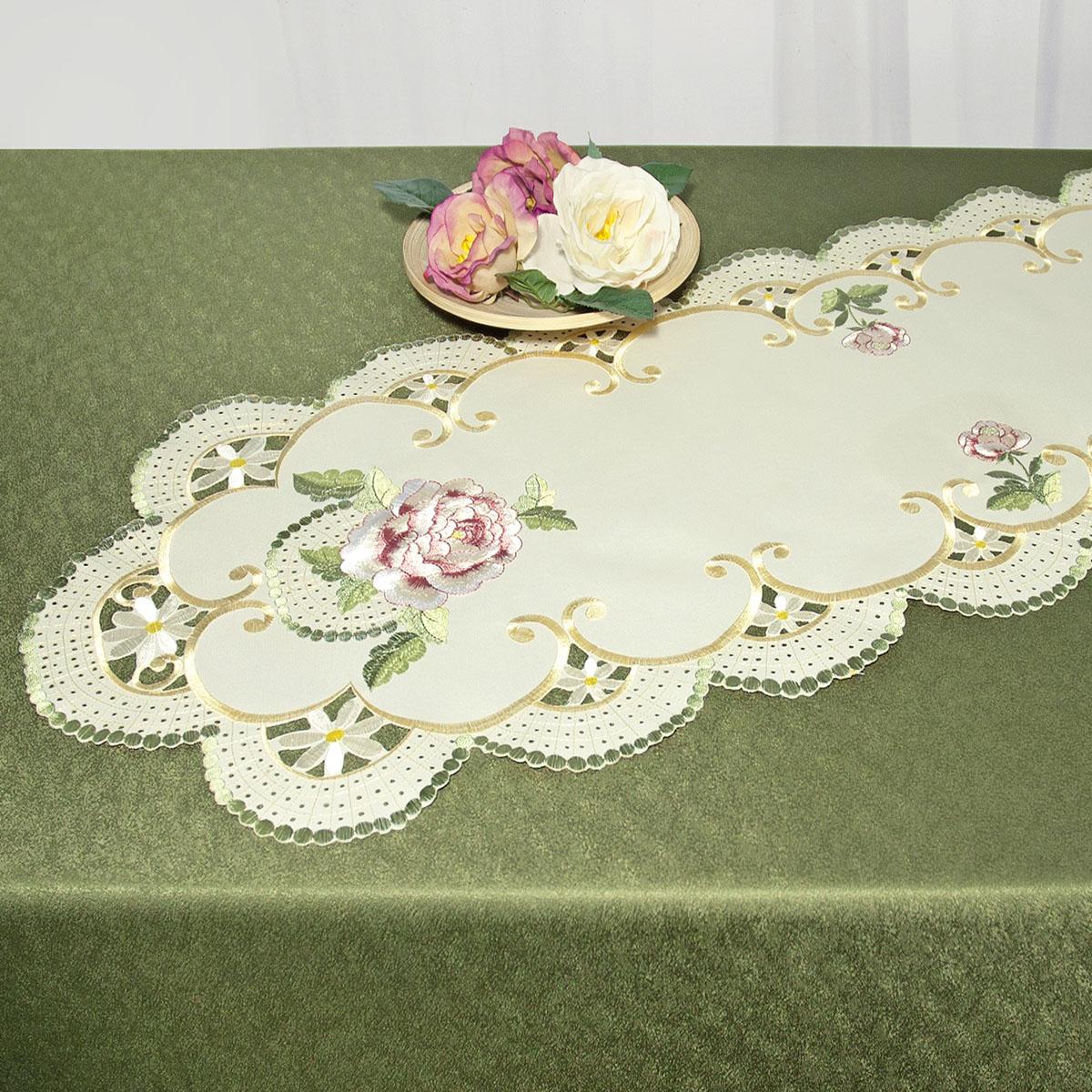 Дорожка для декорирования стола Schaefer, овальная, цвет: бежевый, зеленый, 40 x 110 см 07484-233Ветерок 2ГФДорожка Schaefer выполнена из высококачественного полиэстера и и украшена вышитыми рисунками в виде цветов. Края дорожки оформлены в технике ришелье. Вы можете использовать дорожку для декорирования стола, комода или журнального столика.Благодаря такой дорожке вы защитите поверхность мебели от воды, пятен и механических воздействий, а также создадите атмосферу уюта и домашнего тепла в интерьере вашей квартиры. Изделия из искусственных волокон легко стирать: они не мнутся, не садятся и быстро сохнут, они более долговечны, чем изделия из натуральных волокон.Изысканный текстиль от немецкой компании Schaefer - это красота, стиль и уют в вашем доме. Дорожка органично впишется в интерьер любого помещения, а оригинальный дизайн удовлетворит даже самый изысканный вкус. Дарите себе и близким красоту каждый день!