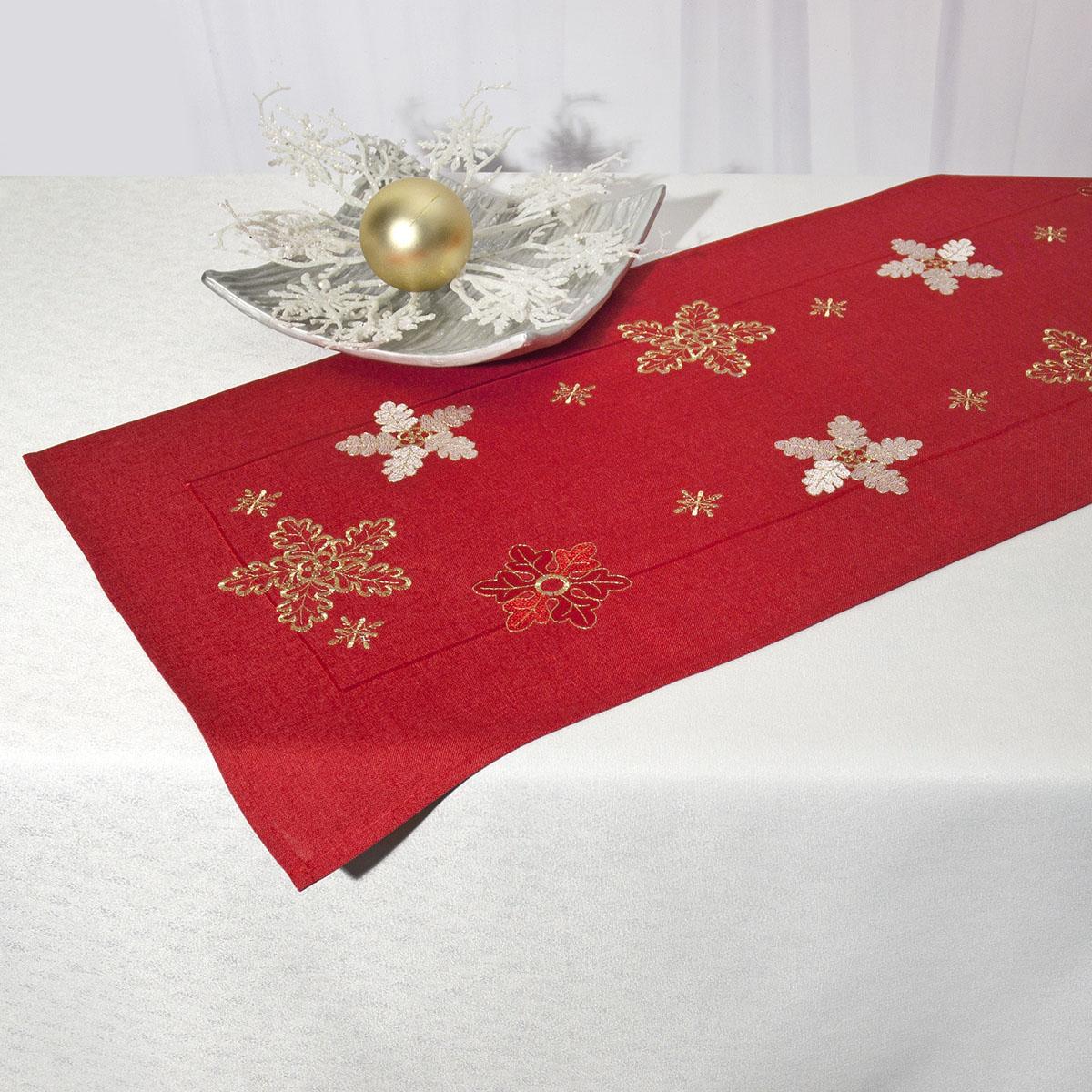 Дорожка для декорирования стола Schaefer, прямоугольная, цвет: красный, 40 x 110 см 07490-233115510Дорожка Schaefer выполнена из высококачественного полиэстера и украшена вышитым рисунком в виде снежинок. Вы можете использовать дорожку для декорирования стола, комода или журнального столика.Благодаря такой дорожке вы защитите поверхность мебели от воды, пятен и механических воздействий, а также создадите атмосферу уюта и домашнего тепла в интерьере вашей квартиры. Изделия из искусственных волокон легко стирать: они не мнутся, не садятся и быстро сохнут, они более долговечны, чем изделия из натуральных волокон. Изысканный текстиль от немецкой компании Schaefer - это красота, стиль и уют в вашем доме. Дорожка органично впишется в интерьер любого помещения, а оригинальный дизайн удовлетворит даже самый изысканный вкус. Дарите себе и близким красоту каждый день!