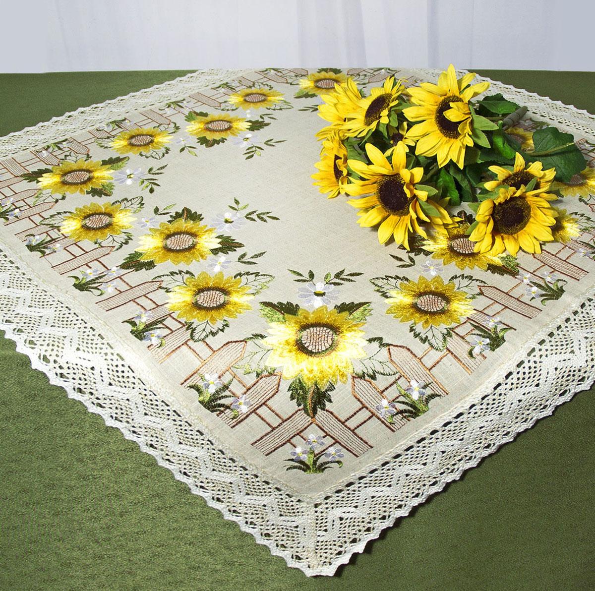 Скатерть Schaefer, квадратная, цвет: серый, желтый, 85x 85 см. 07493-1008497Скатерть Schaefer изготовлена из полиэстера и украшена цветочной вышивкой. Края изделия оформлены в технике ришелье.Изделия из полиэстера легко стирать: они не мнутся, не садятся и быстро сохнут, они более долговечны, чем изделия из натуральных волокон. Кроме того, ткань обладает водоотталкивающими свойствами. Такая скатерть будет просто не заменима на кухне, а особенно на вашем обеденном столе на даче под открытым небом. Скатерть Schaefer не останется без внимания ваших гостей, а вас будет ежедневно радовать ярким дизайном и несравненным качеством.Немецкая компания Schaefer создана в 1921 году. На протяжении всего времени существования она создает уникальные коллекции домашнего текстиля для гостиных, спален, кухонь и ванных комнат. Дизайнерские идеи немецких художников компании Schaefer воплощаются в текстильных изделиях, которые сделают ваш дом красивее и уютнее и не останутся незамеченными вашими гостями. Дарите себе и близким красоту каждый день! Изысканный текстиль от немецкой компании Schaefer - это красота, стиль и уют в вашем доме.