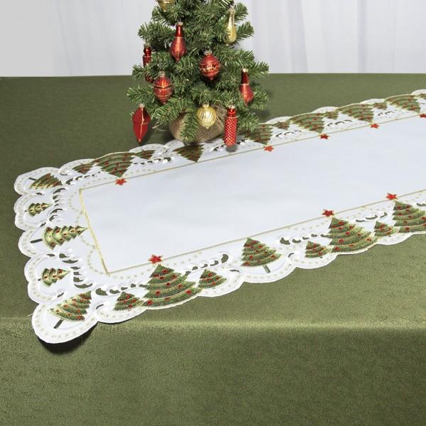 Дорожка для декорирования стола Schaefer, прямоугольная, цвет: белый, зеленый, 40 x 110 см 07494-233VT-1520(SR)Дорожка Schaefer выполнена из высококачественного полиэстера и украшена вышитыми рисунками в виде новогодних елочек. Края дорожки оформлены в технике ришелье. Вы можете использовать дорожку для декорирования стола, комода или журнального столика.Благодаря такой дорожке вы защитите поверхность мебели от воды, пятен и механических воздействий, а также создадите атмосферу уюта и домашнего тепла в интерьере вашей квартиры. Изделия из искусственных волокон легко стирать: они не мнутся, не садятся и быстро сохнут, они более долговечны, чем изделия из натуральных волокон.Изысканный текстиль от немецкой компании Schaefer - это красота, стиль и уют в вашем доме. Дорожка органично впишется в интерьер любого помещения, а оригинальный дизайн удовлетворит даже самый изысканный вкус. Дарите себе и близким красоту каждый день!