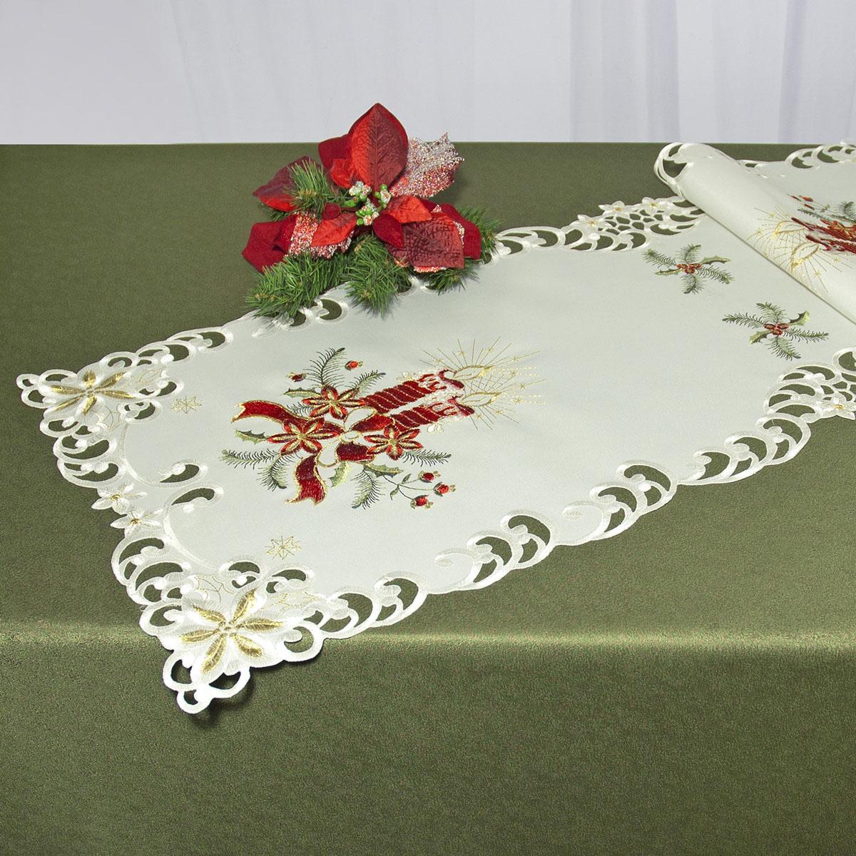 Дорожка для декорирования стола Schaefer, прямоугольная, цвет: белый, красный, 40 x 110 см 07483-233Ветерок 2ГФДорожка Schaefer выполнена из высококачественного полиэстера и украшена вышитыми рисунками в виде новогодних свечей. Края дорожки оформлены в технике ришелье. Вы можете использовать дорожку для декорирования стола, комода или журнального столика.Благодаря такой дорожке вы защитите поверхность мебели от воды, пятен и механических воздействий, а также создадите атмосферу уюта и домашнего тепла в интерьере вашей квартиры. Изделия из искусственных волокон легко стирать: они не мнутся, не садятся и быстро сохнут, они более долговечны, чем изделия из натуральных волокон.Изысканный текстиль от немецкой компании Schaefer - это красота, стиль и уют в вашем доме. Дорожка органично впишется в интерьер любого помещения, а оригинальный дизайн удовлетворит даже самый изысканный вкус. Дарите себе и близким красоту каждый день!