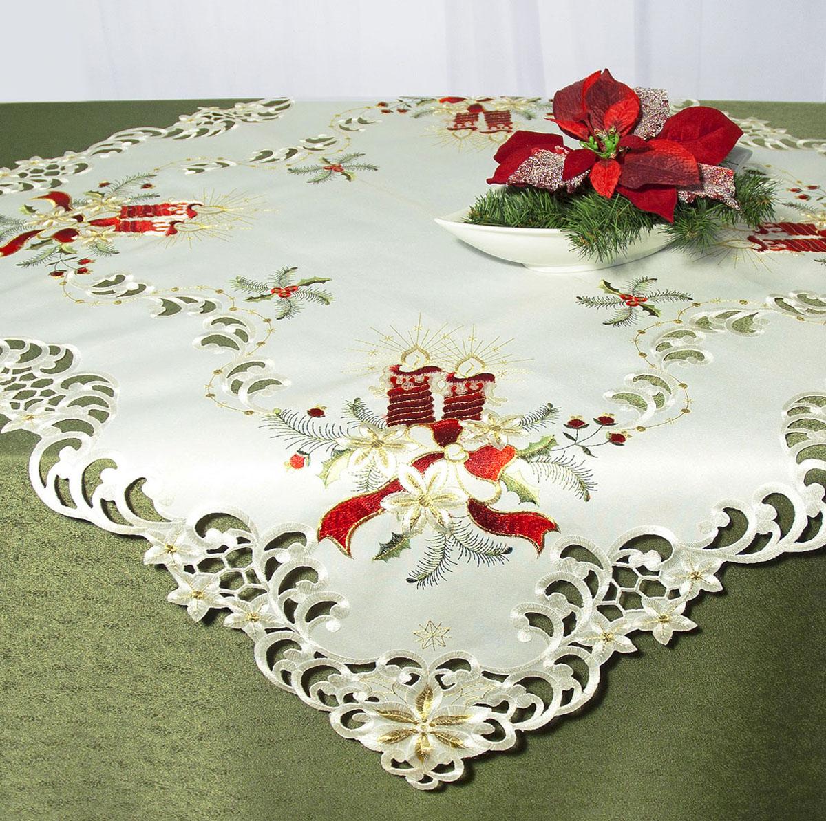 Скатерть Schaefer, квадратная, цвет: белый, красный, 85x 85 см. 07483-100VT-1520(SR)Скатерть Schaefer изготовлена из высококачественного полиэстера и украшена новогодней вышивкой. Края изделия оформлены вышивкой в технике ришелье.Изделия из полиэстера легко стирать: они не мнутся, не садятся и быстро сохнут, они более долговечны, чем изделия из натуральных волокон. Кроме того, ткань обладает водоотталкивающими свойствами. Такая скатерть будет просто не заменима на кухне, а особенно на вашем обеденном столе на даче под открытым небом. Скатерть Schaefer не останется без внимания ваших гостей, а вас будет ежедневно радовать ярким дизайном и несравненным качеством.Немецкая компания Schaefer создана в 1921 году. На протяжении всего времени существования она создает уникальные коллекции домашнего текстиля для гостиных, спален, кухонь и ванных комнат. Дизайнерские идеи немецких художников компании Schaefer воплощаются в текстильных изделиях, которые сделают ваш дом красивее и уютнее и не останутся незамеченными вашими гостями. Дарите себе и близким красоту каждый день! Изысканный текстиль от немецкой компании Schaefer - это красота, стиль и уют в вашем доме.