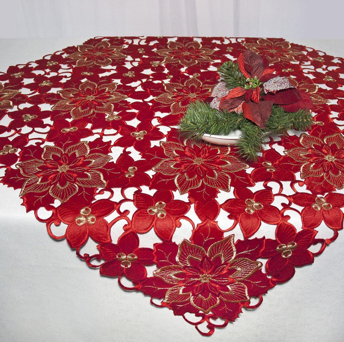 Скатерть Schaefer, квадратная, цвет: красный, 85x 85 см. 07482-10007247-427Скатерть Schaefer изготовлена из полиэстера и декорирована вышитыми в технике ришелье цветами.Изделия из полиэстера легко стирать: они не мнутся, не садятся и быстро сохнут, они более долговечны, чем изделия из натуральных волокон. Кроме того, ткань обладает водоотталкивающими свойствами. Такая скатерть будет просто не заменима на кухне, а особенно на вашем обеденном столе на даче под открытым небом. Скатерть Schaefer не останется без внимания ваших гостей, а вас будет ежедневно радовать ярким дизайном и несравненным качеством.Немецкая компания Schaefer создана в 1921 году. На протяжении всего времени существования она создает уникальные коллекции домашнего текстиля для гостиных, спален, кухонь и ванных комнат. Дизайнерские идеи немецких художников компании Schaefer воплощаются в текстильных изделиях, которые сделают ваш дом красивее и уютнее и не останутся незамеченными вашими гостями. Дарите себе и близким красоту каждый день! Изысканный текстиль от немецкой компании Schaefer - это красота, стиль и уют в вашем доме.