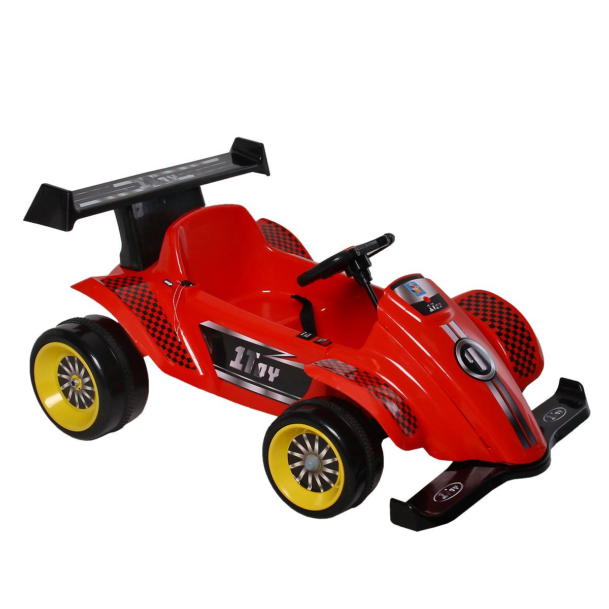 """Детский электромобиль 1toy """"Гонка"""" станет любимым средством передвижения вашего ребенка. Управляемый автомобиль - это самая желанная игрушка как для мальчиков, так и для девочек. Машинка имеет максимально реалистичный вид, выполнена в ярких, привлекательных цветах, что делает ее еще более интересной. Электромобиль выполнен в виде гоночного болида, снабжен рулем и удобным сиденьем. Переключатель управления движения (вперед, назад) расположен на корпусе автомобиля. Кнопка подачи звуковых сигналов расположена на руле. Акселератор и тормоз совмещены в одном переключателе. Большие широкие колеса обеспечивают хорошую устойчивость и проходимость. С таким автомобилем прогулки вашего малыша станут веселее и увлекательнее. Порадуйте его таким замечательным подарком! Электромобиль работает от встроенного аккумулятора. Для руля необходимо докупить 2 батарейки напряжением 1,5V типа АА (не входят в комплект). Во избежание проблем с эксплуатацией, модель..."""