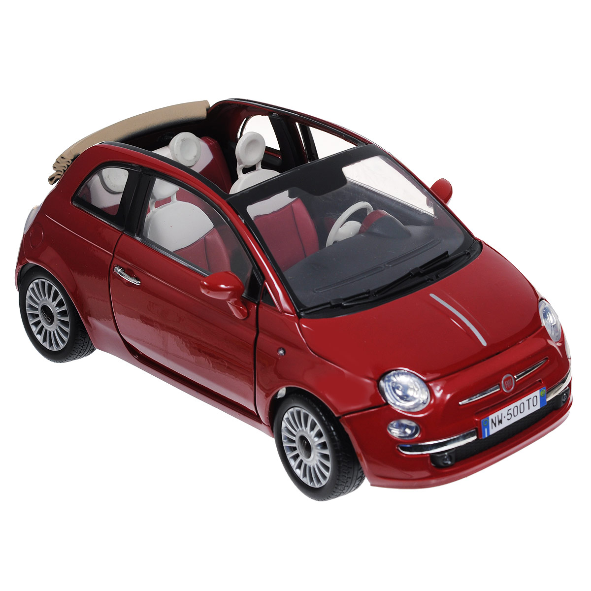 MotorMax Модель автомобиля Fiat Nuova 500 Cabrio цвет красный игрушка chicco turbo touch fiat 500 abarth 2 00007331000000