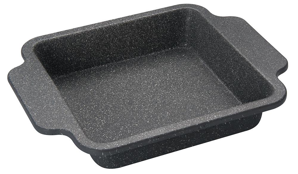 Форма для выпечки Regent Inox Easy, с антипригарным покрытием, 27 см х 22 см40511-091Квадратная форма для выпечки Regent Inox Easy, выполненная из углеродистой стали с двухсторонним антипригарным покрытием, сохраняет сочность продуктов, а также натуральный насыщенный вкус и аромат. Безопасное антипригарное покрытие Granite Coating повторяет структуру камня (гранит) и имеет большую устойчивость к образованию царапин. Форма для выпечки равномерно и быстро прогревается, что способствует лучшему пропеканию пищи. Легко чистить и извлекать выпечку из формы. Подходит для использования в духовке с максимальной температурой 250 °С. Смазывайте внутреннюю поверхность формы небольшим количеством масла перед каждым использованием. Чтобы избежать повреждений антипригарного покрытия, не используйте металлические или острые кухонные принадлежности.С формой для выпечки Regent Inox готовить любимые блюда станет еще проще. Можно мыть в посудомоечной машине. Внутренний размер: 19,5 см х 19,5 см х 4,5 см. Внешний размер (с учетом ручек): 27 см х 22 см x 4,5 см.