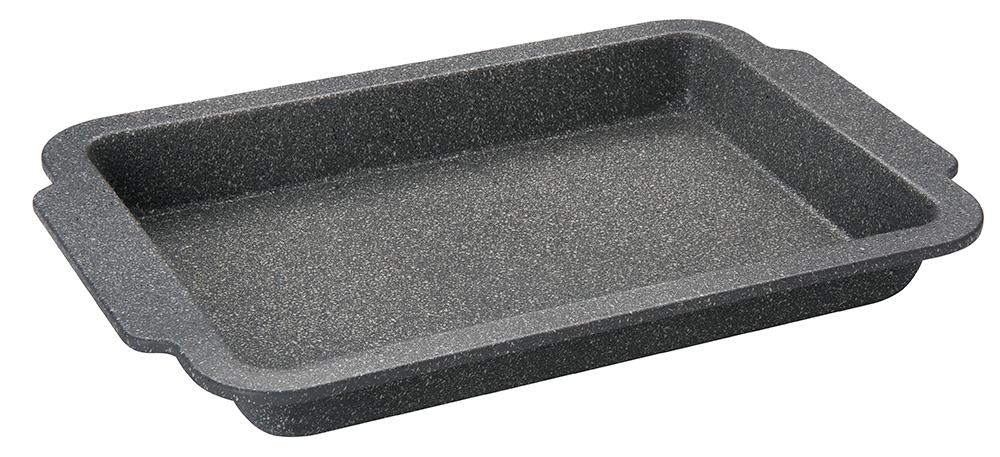 Противень Regent Inox Easy, с антипригарным покрытием, 41 x 27 x 4,5 смVS-1964Противень Regent Inox Easy выполненный из углеродистой стали с усиленным антипригарным покрытием, сохраняет сочность продуктов, а также натуральный насыщенный вкус и аромат.Безопасное антипригарное покрытие Granite Coating повторяет структуру камня (гранит) и имеет большую устойчивость к образованию царапин. Противень равномерно и быстро прогревается, что способствует лучшему пропеканию пищи. Легко чистить и извлекать выпечку из формы. Подходит для использования в духовке с максимальной температурой 250 °С. Смазывайте внутреннюю поверхность формы небольшим количеством масла перед каждым использованием. Чтобы избежать повреждений антипригарного покрытия, не используйте металлические или острые кухонные принадлежности.Можно мыть в посудомоечной машине. Внутренний размер: 33 см х 22,5 см х 4,5 см. Внешний размер (с учетом ручек): 41 см x 27 см x 4,5 см.