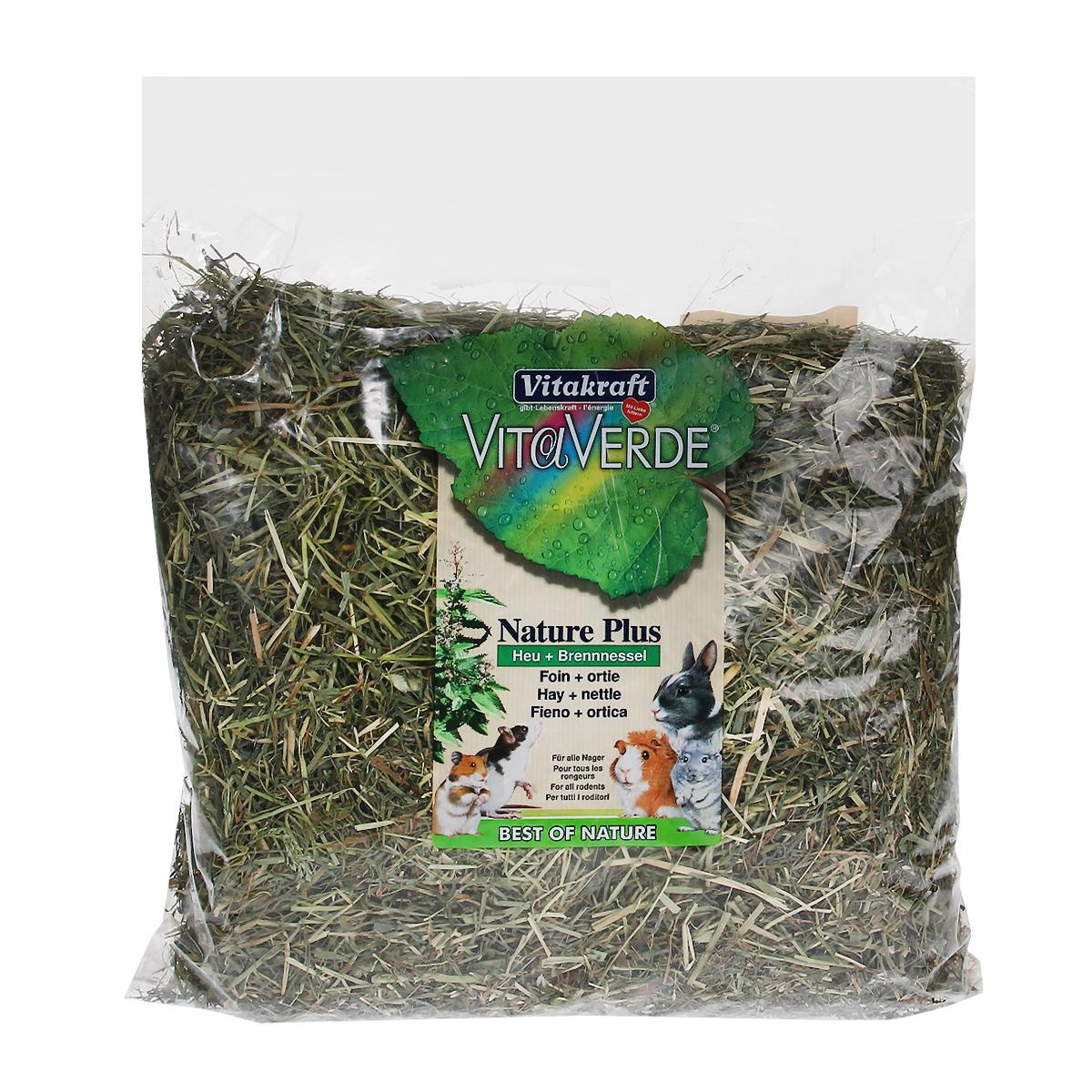 Сено луговое Vitakraft Vita Verde, с крапивой, 500 г0120710Сено луговое Vitakraft Vita Verde с крапивой из тщательно отобранных луговых трав. В листьях крапивы содержится большое количество каротина, что помогает укрепить иммунную систему организма и стимулирует правильный обмен веществ. Сено может быть использовано в качестве наполнителя в клетку и в качестве корма. Ежедневно давайте грызунам свежую порцию сена. Товар сертифицирован.