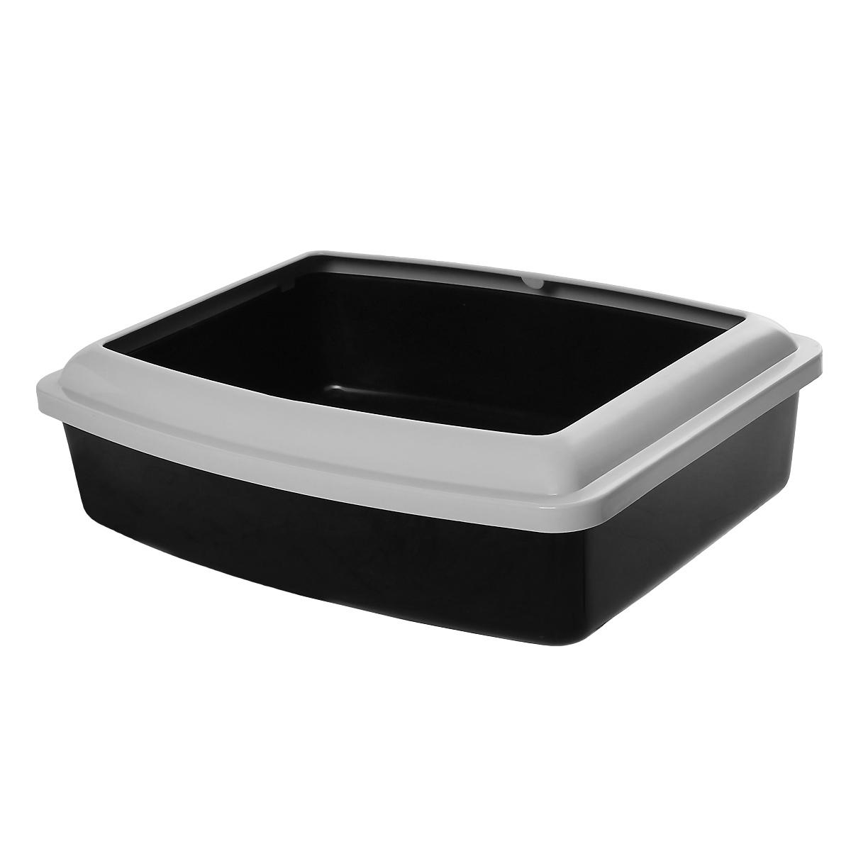 Туалет для кошек Savic Oval Trey Medium, с бортом, цвет: черный, серый, 42 см х 33 см fullips увеличитель губ small oval