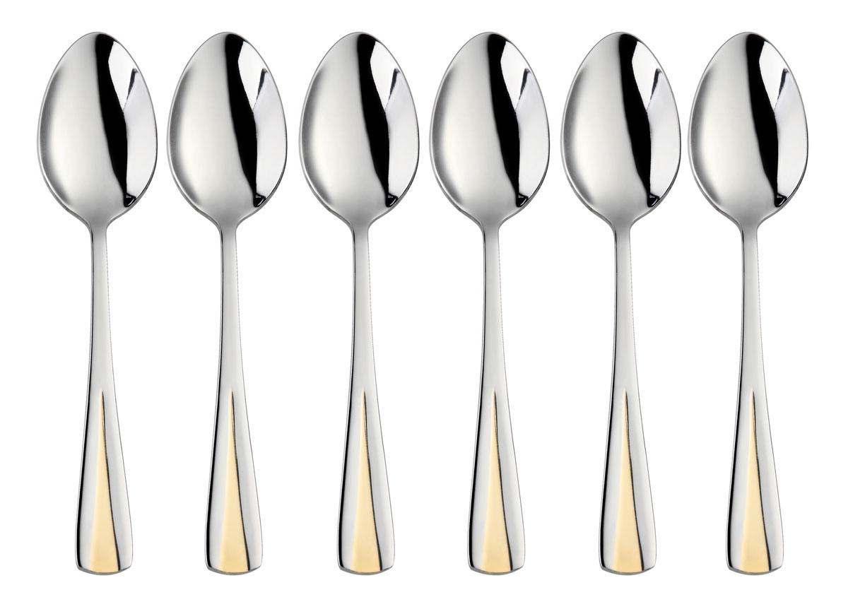Набор столовых ложек Bekker, 6 шт. BK-3199L115510Набор Bekker состоит из 6 столовых ложек, выполненных из высококачественной нержавеющей стали с зеркальной полировкой. Ручки украшены изящным рельефом с золотистым покрытием. Такой набор прекрасно дополнит сервировку стола. Благодаря качеству материала и первоклассной обработке, набор прослужит вам долгие годы и сохранит безупречный внешний вид. Можно мыть в посудомоечной машине. Длина ложки: 20,5 см. Толщина прибора: 1,3-3 мм. Вес прибора: 65 г.