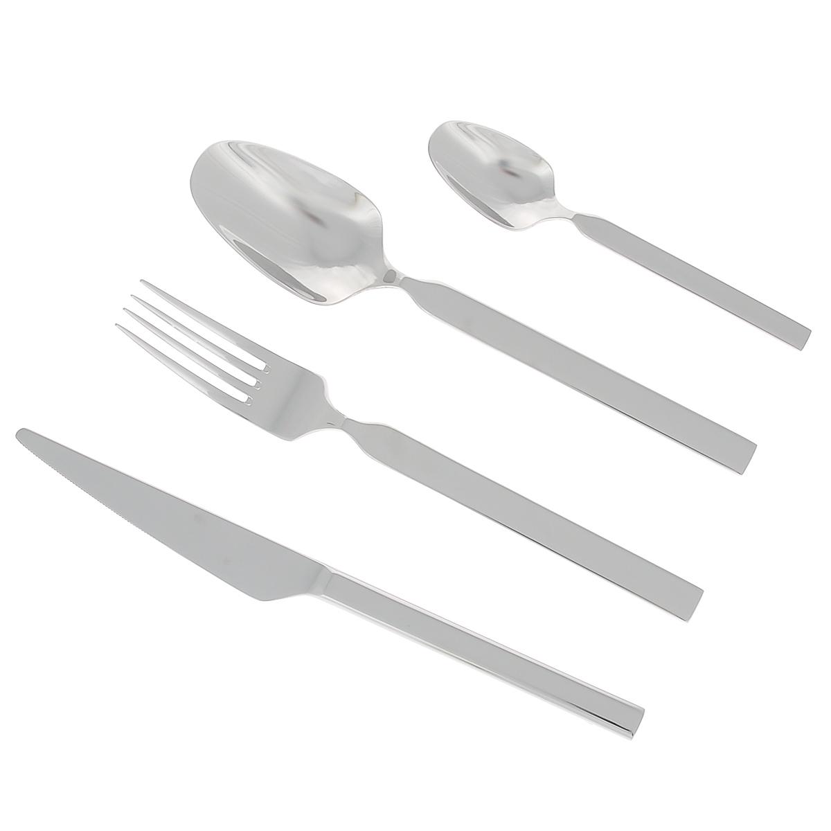 Набор столовых приборов Zanussi Bergamo, 24 предмета54 009312Набор столовых приборов Zanussi Bergamo состоит из 6 столовых ложек, 6 вилок, 6 ножей, 6 чайных ложек. Набор выполнен из нержавеющей стали 18/10 с полировкой до зеркального блеска. Рукоятки простой конструкции имеют уникальный элегантный изгиб. Можно мыть в посудомоечной машине.