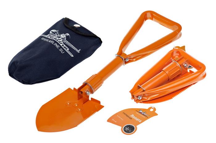 Лопата саперная Airline, складная, 46 см.1024602Удобная и практичная складная лопата Airline, выполненная из стали, предназначена для различного вида работ, в том числе и земляных. Не заменима в походных условиях. Благодаря компактным размерам ее удобно держать в багажнике автомобиля и легко можно поместить в туристический рюкзак. С помощью данной лопаты Вы сможете без особых проблем откопать застрявшее колесо. Для каждого автолюбителя данная лопата окажется незаменимой!