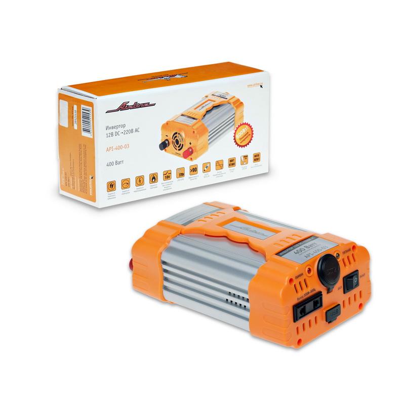 Инвертор Airline, 12В-220В, 400 ВтAPI-400-03Автомобильный преобразователь напряжения Airline (инвертор) позволяет получить переменное напряжение 220В – 50Гц от аккумулятора автомобиля. Инвертор предназначен для питания устройств с потребляемой мощностью до 750Вт, например: ноутбуков, видеокамер, DVD-плееров, зарядных устройств, электроинструментов, осветительных приборов и т.д.В инвертор встроено гнездо USB 5В для питания и зарядки мобильных устройств и гнездо прикуривателя для подключения устройств с питанием 12 вольт.