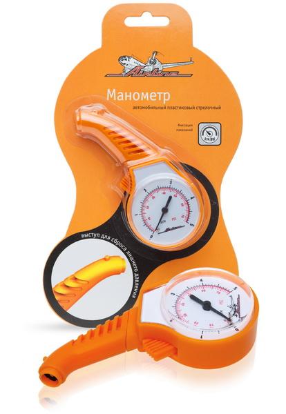 Манометр стрелочный Airline, пластиковый, 5 АтмAPR-M-05Автомобильный манометр Airline предназначен для измерения давления в шинах автомобиля. Измеренные показания фиксируются. Манометр имеет выступ для сброса лишнего давления.