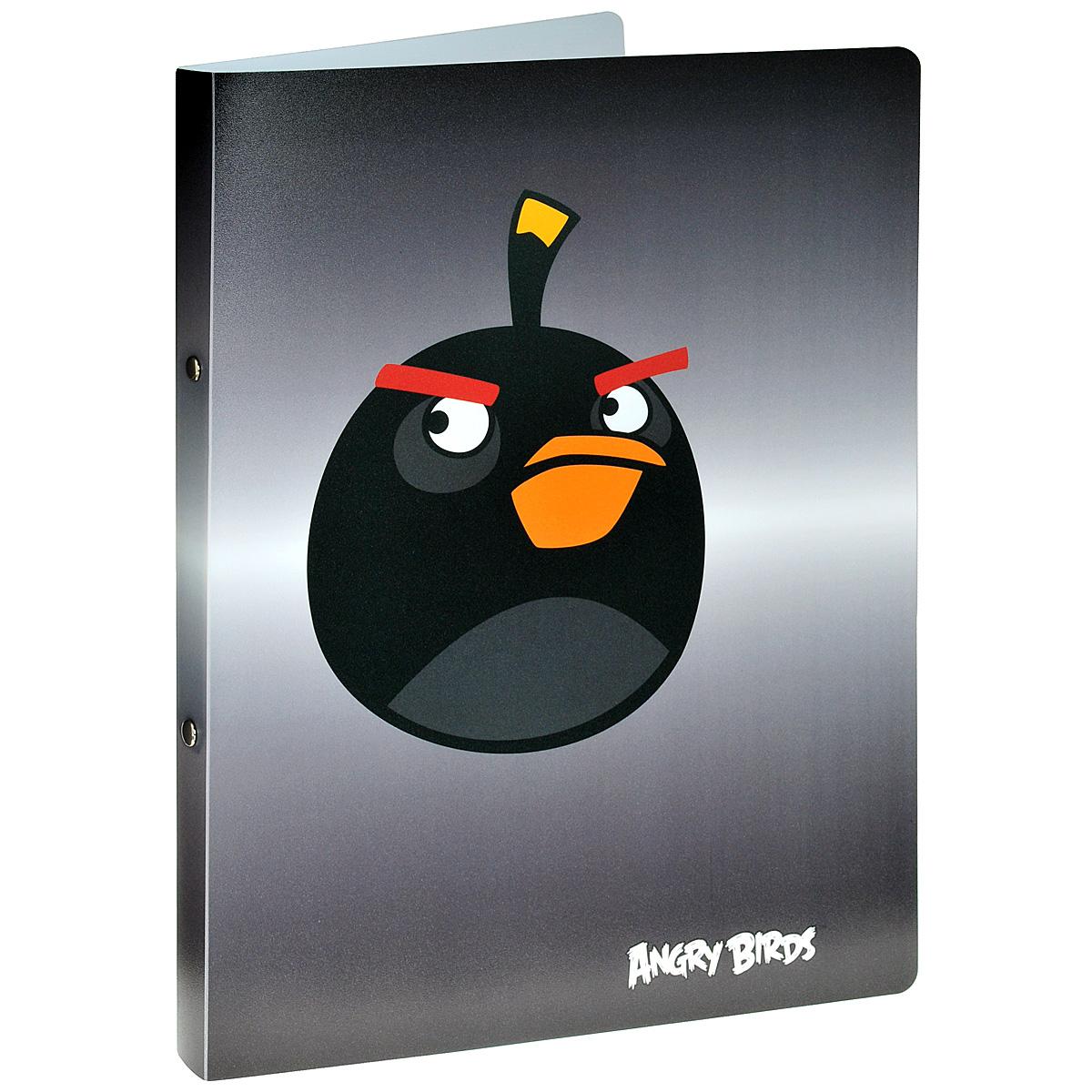 Centrum Папка на кольцах Angry Birds цвет серый14440Папка на кольцах Centrum Angry Birds предназначена для хранения и транспортировки бумаг или документов формата А4. Папка изготовлена из плотного пластика и оформлена изображением персонажа всеми любимой игры Angry Birds.Кольцевой механизм выполнен из высококачественной стали.
