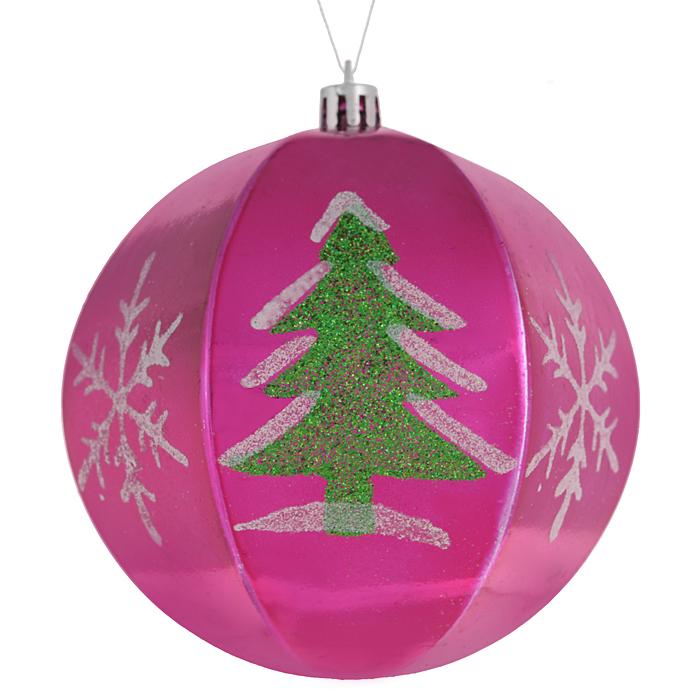 Набор новогодних подвесных украшений Sima-land Шар, цвет: малиновый, диаметр 10 см, 2 шт. 799470 набор декоративных свечей sima land нежность 2 шт 825709