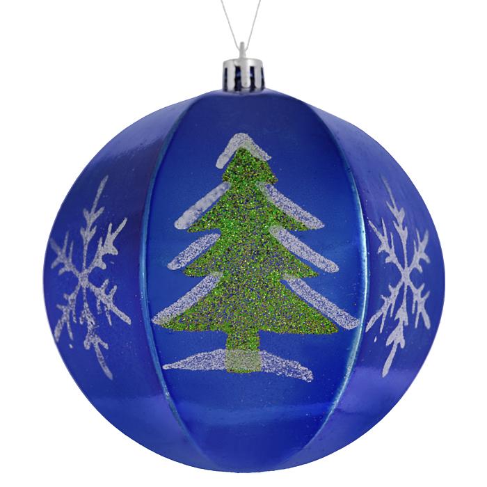 Набор новогодних подвесных украшений Sima-land Шар, цвет: синий, диаметр 10 см, 2 шт. 799470799470