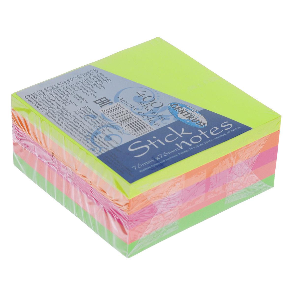 Блок для записей Centrum, с липким слоем, 7,6 см х 7,6 см683-4Цветная бумага из блока Centrum идеально подойдет для важных пометок и записей. Яркие неоновые оттенки и высокое качество выделяют предлагаемую бумагу из ряда подобных. Блок состоит из 400 квадратных листочков с липким слоем оранжевого, салатового, желтого, розового и ярко-розового цветов (по 80 листочков каждого цвета).