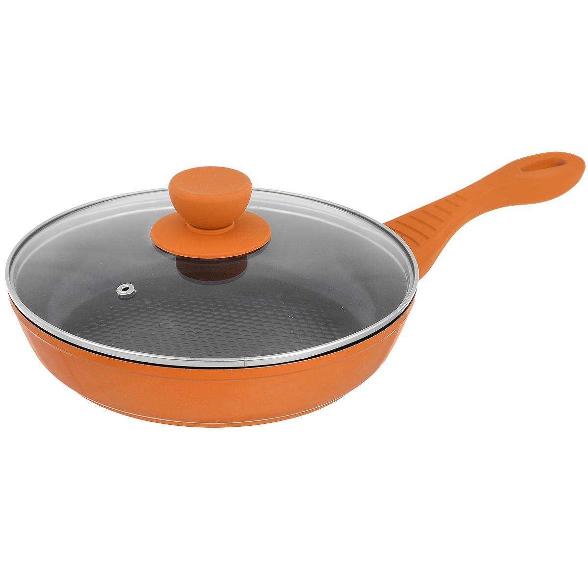 Сковорода Bohmann с крышкой, с керамическим 3D покрытием, цвет: оранжевый. Диаметр 20 см. 7020BH/3D391602Сковорода Bohmann изготовлена из литого алюминия с антипригарным керамическим покрытием черного цвета с эффектом 3D. Внешнее покрытие - жаростойкий лак, который сохраняет цвет долгое время. Благодаря керамическому покрытию пища не пригорает и не прилипает к поверхности сковороды, что позволяет готовить с минимальным количеством масла. Кроме того, такое покрытие абсолютно безопасно для здоровья человека, так как не содержит вредной примеси PFOA. Рифленая внутренняя поверхность сковороды обеспечивает быстрое и легкое приготовление. Она также оформлена рисунком в виде голубых кружков с эффектом 3D.Достоинства керамического покрытия: - устойчивость к высоким температурам и резким перепадам температур, - устойчивость к царапающим кухонным принадлежностям и абразивным моющим средствам, - устойчивость к коррозии, - водоотталкивающий эффект, - покрытие способствует испарению воды во время готовки, - длительный срок службы, - безопасность для окружающей среды и человека. Сковорода быстро разогревается, распределяя тепло по всей поверхности, что позволяет готовить в энергосберегающем режиме, значительно сокращая время, проведенное у плиты. Сковорода оснащена ручкой, выполненной из бакелита с термостойким силиконовым покрытием. Такая ручка не нагревается в процессе готовки и обеспечивает надежный хват. Крышка изготовлена из жаропрочного стекла, оснащена ручкой, отверстием для выпуска пара и металлическим ободом. Благодаря такой крышке можно следить за приготовлением пищи без потери тепла. Подходит для всех типов плит, кроме индукционных.Подходит для чистки в посудомоечной машине.