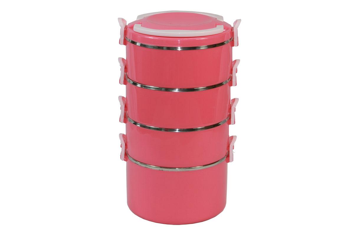 Набор термоконтейнеров Bekker Koch, цвет: розовый, 4 предмета21395599Набор Bekker Koch состоит из 4 термоконтейнеров, предназначенных для хранения пищевых продуктов. Термоконтейнеры, располагающиеся друг над другом, снаружи выполнены из качественного пластика, внутри - из нержавеющей стали. Стальные стенки термоконтейнеров обеспечивают длительное сохранение температуры содержимого. Пластиковая крышка с ручками обеспечивает герметичность хранения продуктов. Не подходит для использования в посудомоечной машине. Не использовать абразивные чистящие средства.Набор термоконтейнеров Bekker Koch идеально подойдет для поездок, похода, активного отдыха.Объем маленького термоконтейнера: 600 мл.Диаметр маленького термоконтейнера (по верхнему краю): 15 см.Высота стенки маленького термоконтейнера: 6 см.Объем большого термоконтейнера: 1000 мл.Диаметр большого термоконтейнера (по верхнему краю): 15,5 см.Высота стенки большого термоконтейнера: 9 см.Общий размер конструкции: 17,5 см х 16 см х 29 см.