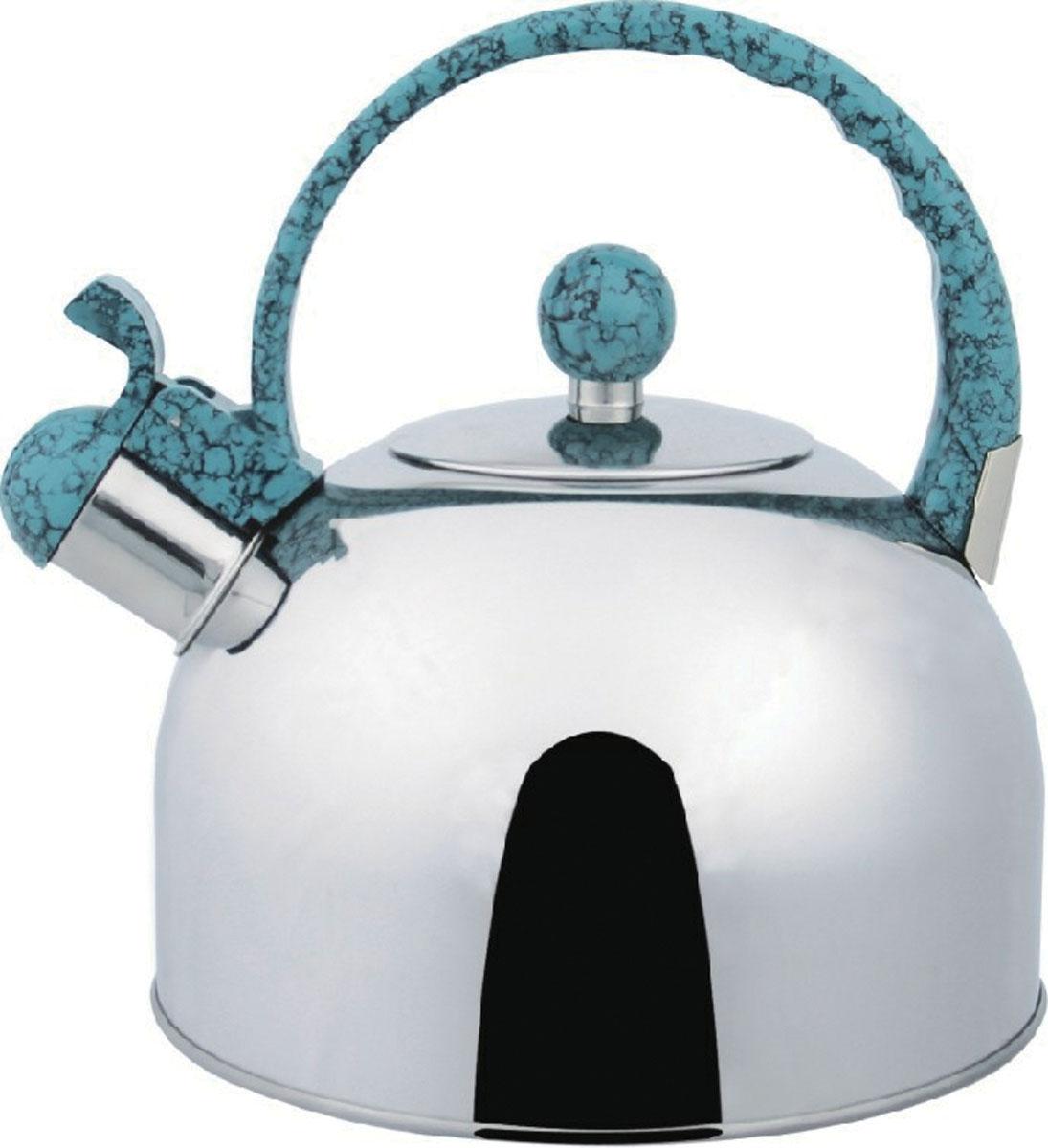 Чайник Bekker Koch со свистком, цвет: бирюзовый, 2,5 л. BK-S307115510Чайник Bekker Koch выполнен из высококачественной нержавеющей стали, что обеспечивает долговечность использования. Внешнее зеркальное покрытие придает приятный внешний вид. Пластиковая фиксированная ручка, выполненная под мрамор, делает использование чайника очень удобным и безопасным. Чайник снабжен свистком и устройством для открывания носика. Изделие оснащено капсулированным дном для лучшего распространения тепла.Можно мыть в посудомоечной машине. Пригоден для всех видов плит кроме индукционных. Высота чайника (без учета крышки и ручки): 11,5 см.Диаметр основания: 19 см. Толщина стенки: 3 мм.