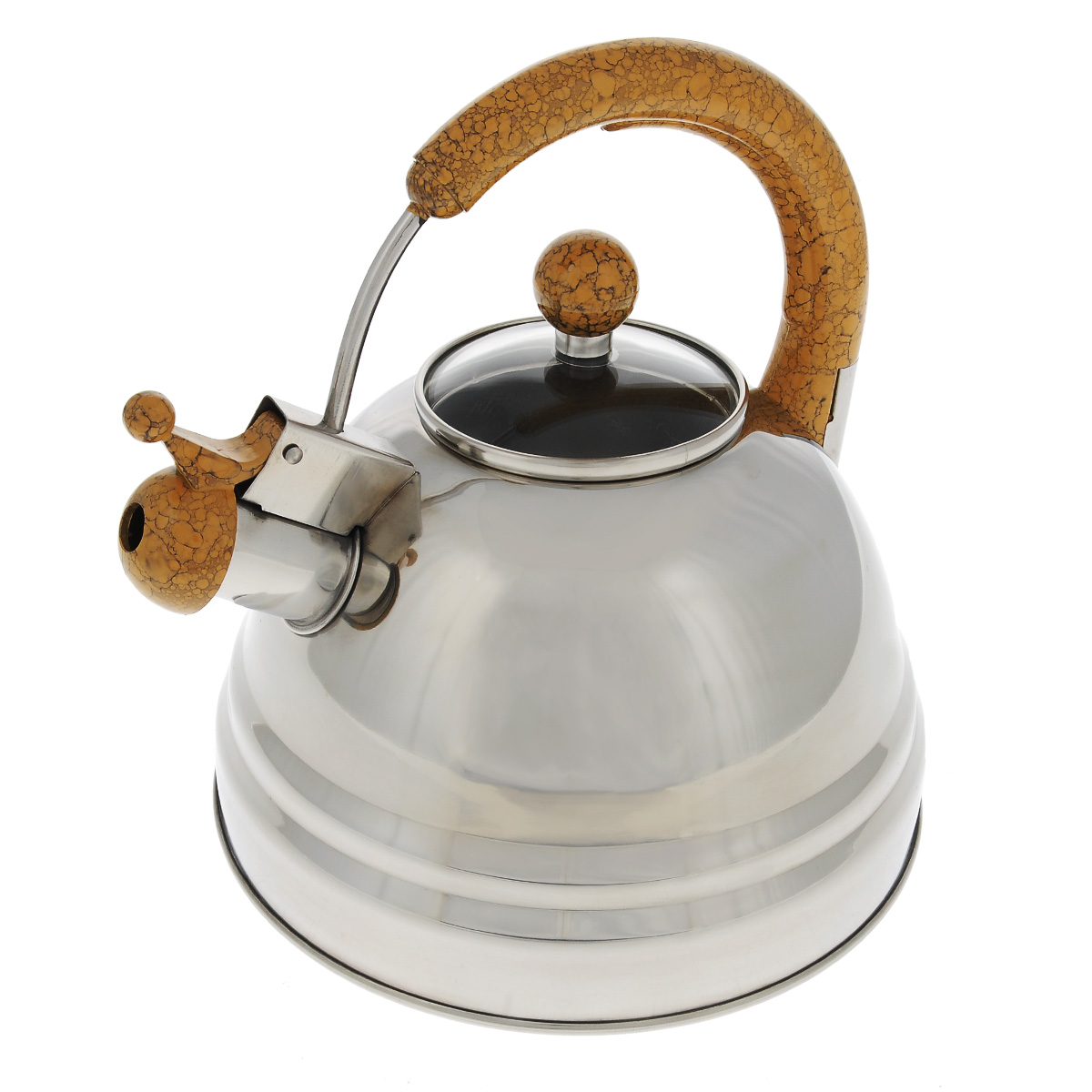Чайник Bekker Koch со свистком, цвет: коричневый, 3 л. BK-S368FS-91909Чайник Bekker Koch изготовлен из высококачественной нержавеющей стали 18/10 с зеркальной полировкой. Капсулированное дно распределяет тепло по всей поверхности, что позволяет чайнику быстро закипать. Эргономичная фиксированная ручка выполнена из бакелита коричневого цвета под мрамор. Крышка изготовлена из жаростойкого стекла. Носик оснащен откидным свистком, который подскажет, когда вода закипела. Свисток открывается и закрывается с помощью рычага на носике. Подходит для всех типов плит, кроме индукционных. Можно мыть в посудомоечной машине.