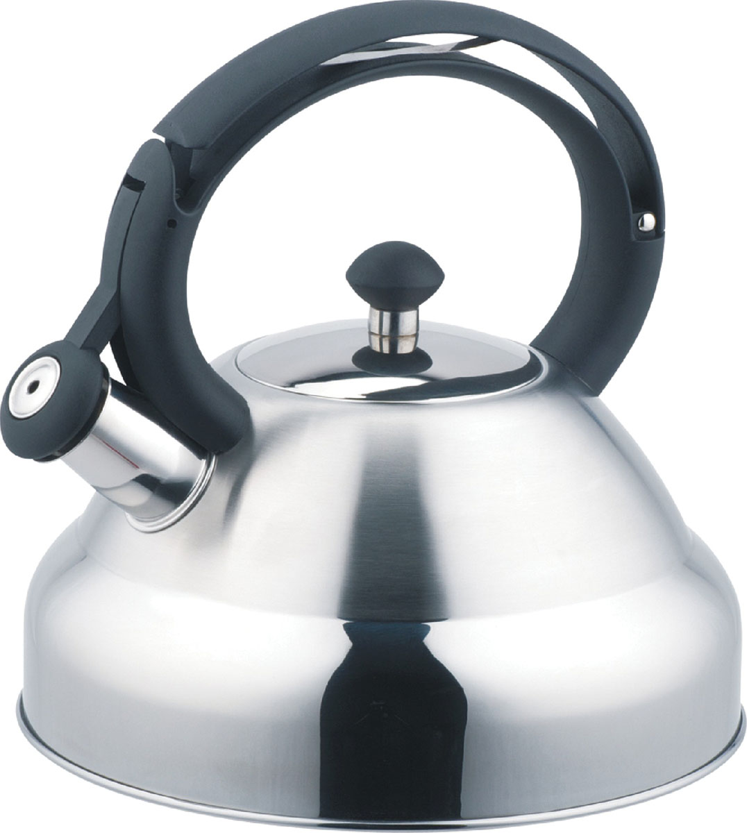 Чайник Bekker De Luxe со свистком, 2,7 л. BK-S403115510Чайник Bekker De Luxe изготовлен из высококачественной нержавеющей стали 18/10. Поверхность матовая с зеркальной полосой внизу. Капсулированное дно распределяет тепло по всей поверхности, что позволяет чайнику быстро закипать. Эргономичная фиксированная ручка выполнена из бакелита черного цвета. Носик оснащен откидным свистком, который подскажет, когда вода закипела. Свисток открывается и закрывается нажатием кнопки на рукоятке. Подходит для всех типов плит, включая индукционные. Можно мыть мыть в посудомоечной машине.